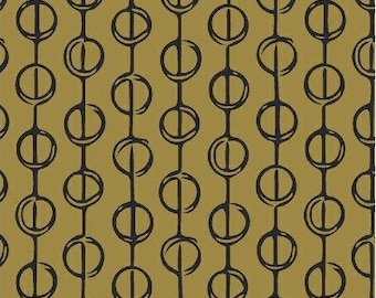 FREE SHIPPING, Hand Maker by Natalie Barnes for Windham Fabrics, Half Yard,  Modern Circles, Mustard and Black ,  Beyond the Reef