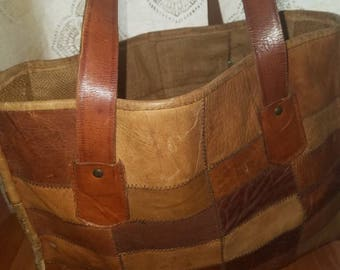 Boho mexican  patchwork leather tote