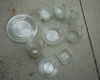 Set of Eleven,Anchor Hocking Manhattan, Replacement Pieces, Manhattan Vase, Tumbler, Bowls, Tea Cups, Plate