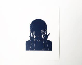 Blushing Touch  //  Lino Print - Block Print - Modern Art - Linocut - Printmaking