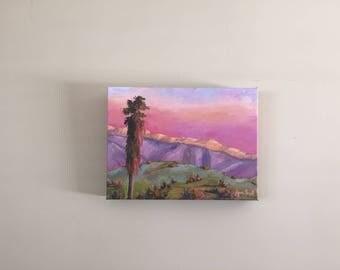 Pink Moment, Ojai Painting, Palm tree painting, Ojai Pink Moment ,Palm Tree Art, Ojai art,  Painting of Ojai, Ojai Mountains, Landscape