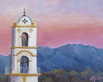 Ojai, Pink Moment, Ojai painting in prints, Ojai painting on canvas, Pink Moment oil painting, Ojai Art, Ojai Painting, Ojai Prints