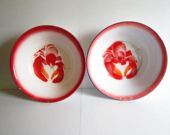Vintage Enamelware Graniteware Large Lobster Bowls