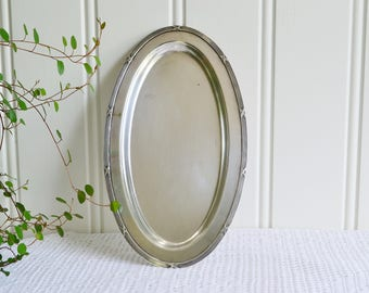 Small oval tray, vintage Swedish plate, sixties silver plate