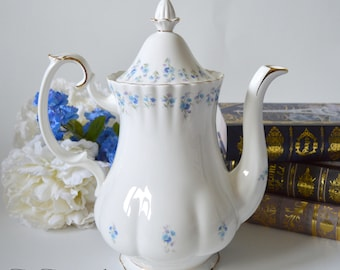 Royal Albert Memory Lane Full Sized Coffee Pot with Pattern on Spout, Replacement China, Wedding Gift, c. 1980-2002