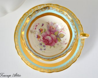 Paragon Robin's Egg Blue Teacup and Saucer Set With Gold Band And Floral Center, Bone China Cabinet Tea Cup Set , ca. 1960-1963
