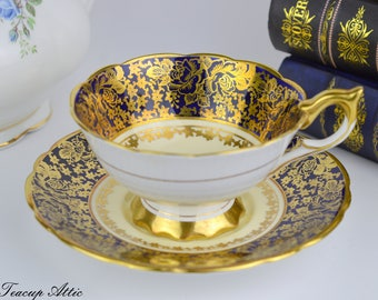 Royal Stafford Cobalt Blue and Gold Teacup and Saucer, Vintage Tea Cup, English Bone China, Wedding Gift,  ca. 1950
