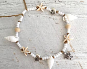 beach anklet, beachcomber boho jewelry, gift for her, sea turtle shells