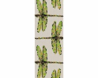 Dragonflies Peyote Bead Pattern, Bracelet Cuff, Bookmark, Seed Beading Pattern Miyuki Delica Size 11 Beads - PDF Instant Download