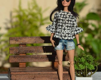 MADE TO ORDER - Aimee Summer Top for Fashion Royalty, Barbie Made to Move, Poppy Parker and other similar 1:6 scale dolls