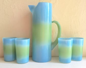Bermuda Twist Blue and Green Glass and Pitcher Set Retro Vintage Mid-Century Drinking Glasses