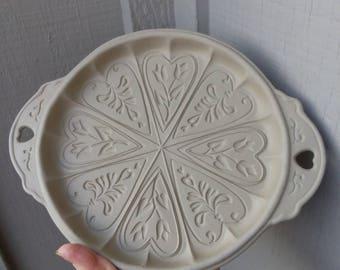 Valentines Day Baking Gift / 1988 Brown Bag Cookie Pan Shortbread Heart Cookie Stoneware Mold, Scandinavian Folk Art Heart Tulip Cookie Mold