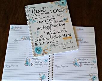 Scripture Prayer Journal, Bible Journaling, Journal, Christian gift, Scripture Journal, **Aqua Gold**