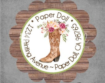 Return Address Labels - Western Cowgirl Boots Watercolor Floral Scalloped Round in a Tin - Set of 45