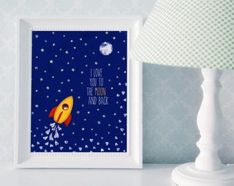 "8x10 Print: ""I Love You To the Moon and Back"" Childrens' Room Decor and Nursery Art"