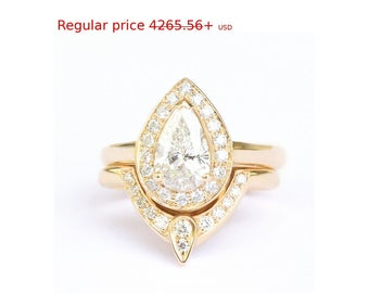 Summer Sale! Third Eye Pear Diamond Engagement Ring with Matching Side Band, Solid Gold Rings Bridal Set, Natural Diamond Rings for Women, A