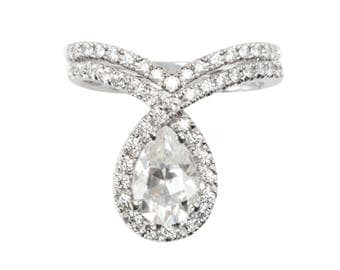 """1.5ct Pear Shaped Moissanite with Pave Diamonds """"Bliss"""" Halo Engagement Ring with Side Diamond Band,14K or 18K Solid Gold, Wedding"""