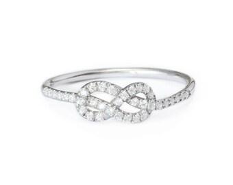 Petite Infinity Ring, Diamond Wedding Band, Solid Gold Infinity Knot Ring, Gold Wedding Ring, Cluster Ring, Gold Rings for Women 14K White G