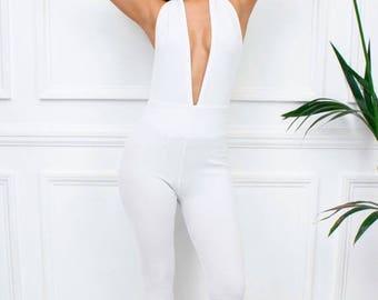 "ON SALE New Womens Ladies ""Morgan"" White Halterneck Plunge Extreme Low V Neckline Backless Skinny Leg Jumpsuit"