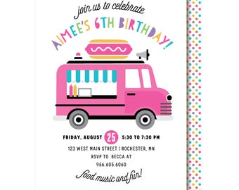 Food Truck Invitations, Carnival, Food Birthday Party, Hot Dogs, Burgers
