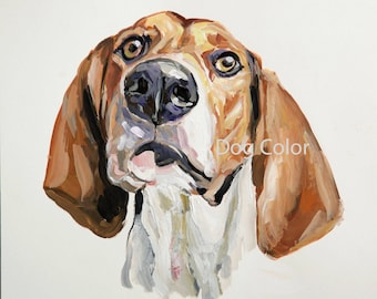 Ready to ship, Original dog painting on paper BEAGLE watercolor