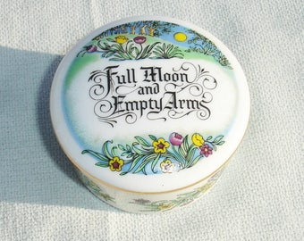 RARE Franklin Porcelain 'Full Moon and Empty Arms' Mini Musical Trinket Box