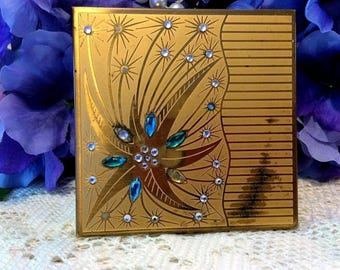 Vintage Jeweled Unsigned Powder Compact