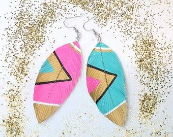 Feather Earrings, Neon Earrings, Aztec Inspired Jewelery, Faux Leather Feather Earrings, Hand Painted Jewelry, Pink Earrings - Neon Aztec