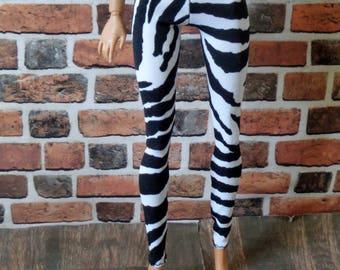 Zebra Print Leggings for Barbie, or similar size doll