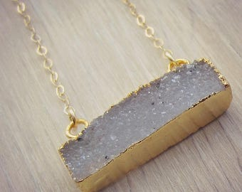 Quartz Bar Pendant Necklace - Grey Quartz Necklace - Quartz Pendant - Layering Necklace - Gold Filled - Minimal Necklace - Crystal Pendant