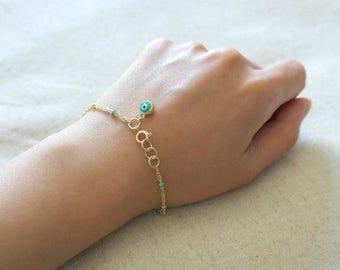 ON SALE Evil eye gold bracelet in asorted colors
