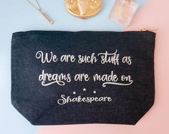 """Book Lover Gift - Shakespeare Make-Up Case - The Tempest - """"We are such stuff as dreams are made on"""" - Pencil Case - Astronomy Stars"""