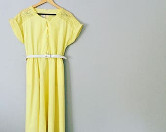 Vintage 1970s Lemon Yellow Summer Dress