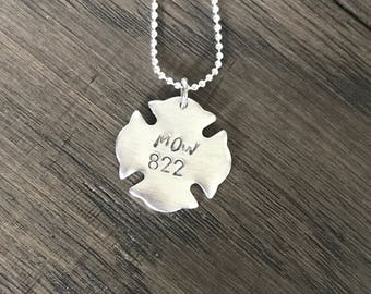 Fireman necklace.  Hero Necklace. Firefighter wife gift. Firefighter Girlfriend. Badge number. Fireman charm. Fireman memorial