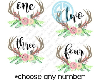 Birthday Floral Antler Design *You Choose Number* Sublimation Heat Transfer Pre Made DIY Iron On HTV Vinyl You Choose