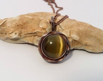 Copper Necklace, Cat's Eye Necklace, Copper Pendant, Cat's Eye Pendant, Cabochon Necklace, Cabochon Jewelry, Yellow Cat's Eye, Copper Chain