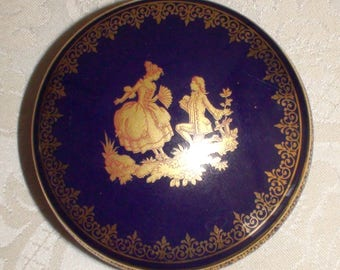 Limoges Cobalt Blue with Gold Trim Round Porcelain Trinket Box