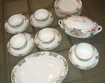 RARE Vintage Noritake Japan Children's Tea Party Set Rose Pattern 10-Piece