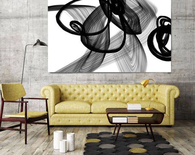 "Abstract Expressionism in Black And White 7. Contemporary Unique Wall Decor, Large Contemporary Canvas Art Print up to 72"" by Irena Orlov"