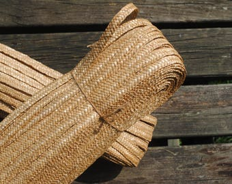 All natural vintage French braided wheat straw bundle - for hat making millinery supply basket making weaving - about 100 yards