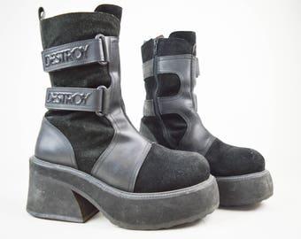 90s Grunge Goth Destroy Black Suede Velcro Straps Chunky Platform Boots UK 7 / US 9.5 / EU 40