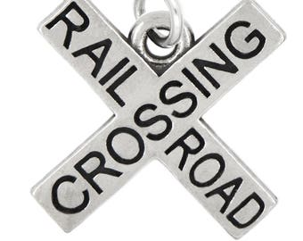 LGU® Sterling Silver Oxidized RailRoad Crossing Charm (With Options)