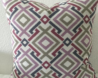 Pillow cover, grey lavender geometric pattern fabric, 18x18 inch square-Mill Creek Gareth - Fresco Printed Poly Outdoor Fabric in Heather