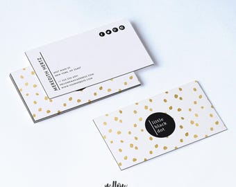 Business Card Template - Gold Dot Business Card - Photoshop Template - Instant Download - Photography Card - Printable Card - Template