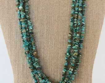 22 Inch Vintage Four Strand Blue Diamond Turquoise Nugget Necklace