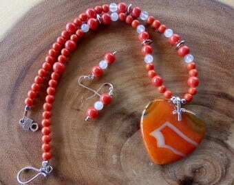 19 Inch Neon Orange Onyx Agate Heart Necklace with Earrings