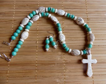 20 Inch Southwestern White Stone Cross Beaded Necklace with Earrings