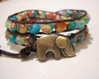 Beaded wrap bracelet, Beaded LeatherWrap, Boho bracelet - 931