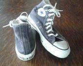 Vintage Black 80s Hightop Converse All Star Sneakers, Size UK 3.5 (Approx U.S. 6 Ladies)