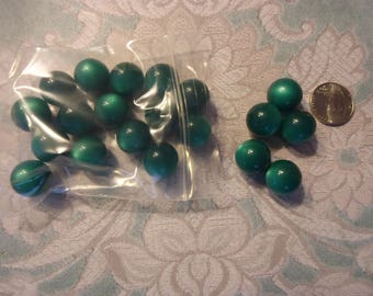 Vintage, New Old Stock, 14mm Moon Glow Beads, Deep Emerald, Jewelry Supply, Beading Component, Craft Supply, 20 Beads